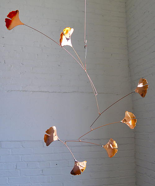 7 Leaf Copper Ginkgo Mobile