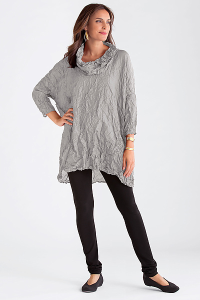 Crushed Silk Cowl Neck Tunic