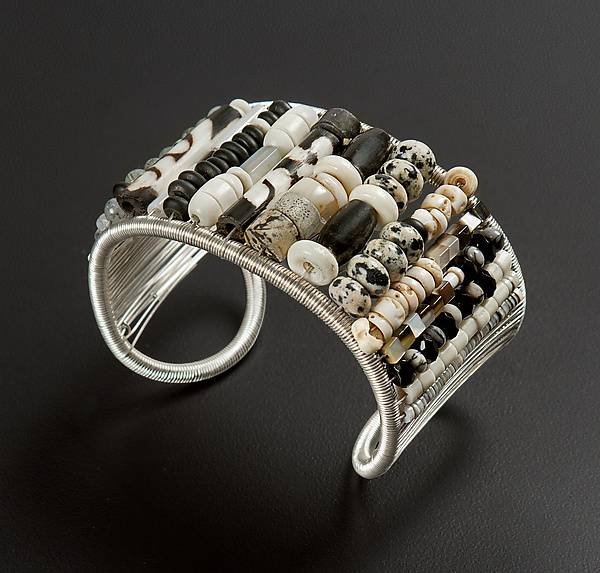 Black and White Small Bead Woven Cuff