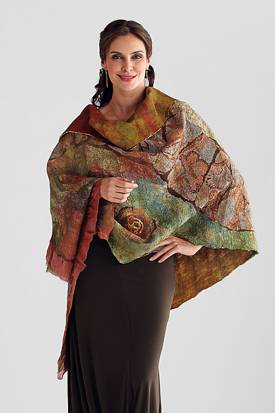 Nuno-felted Wrap in Orange, Olive & Browns