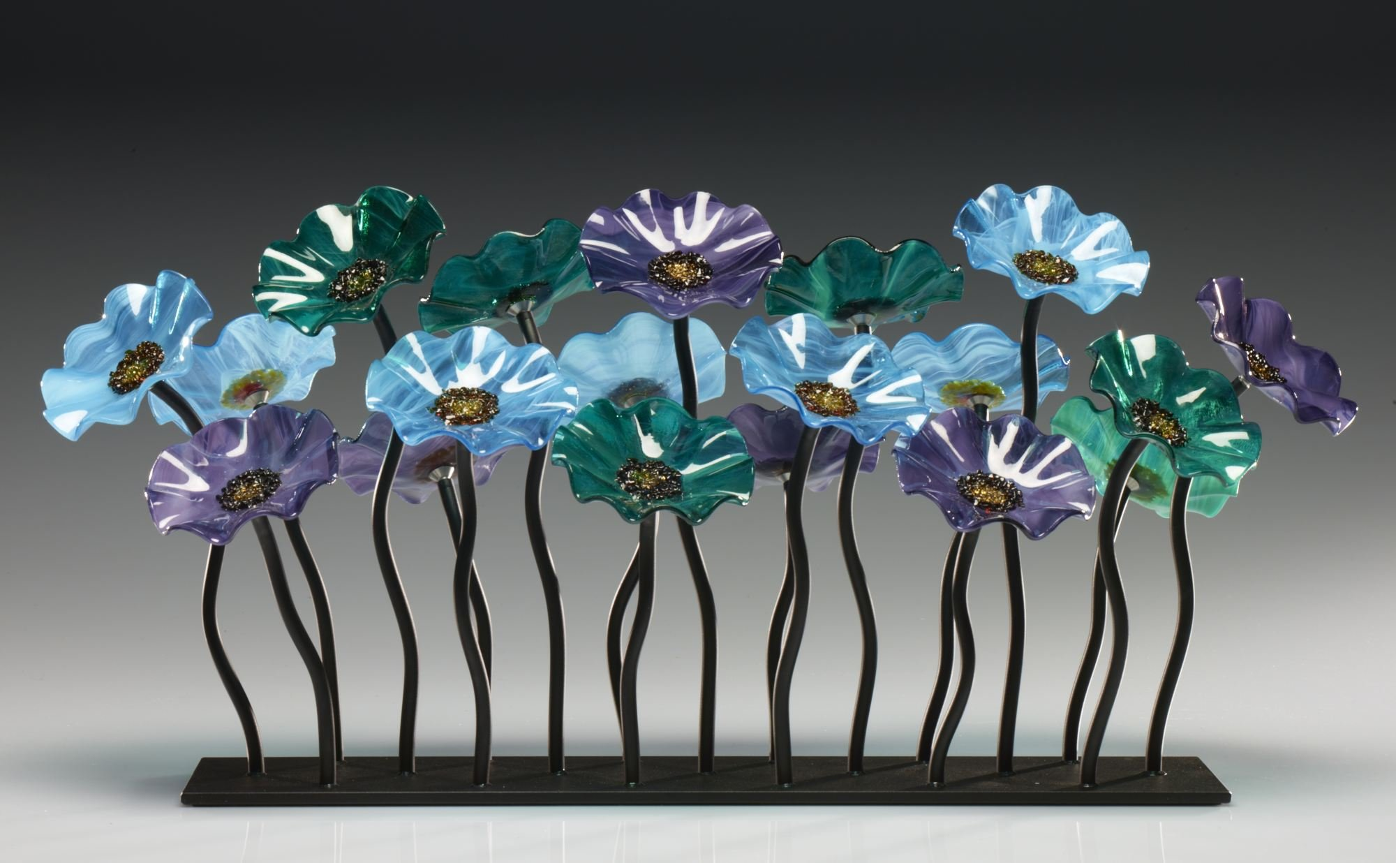 Topaz Glass Flower Garden by Scott Johnson and Shawn Johnson (Art Glass  Sculpture) | Artful Home