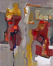 Red and Gold Figure by Carole Guthrie (Acrylic Painting)