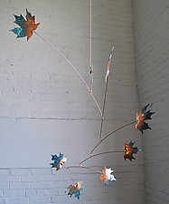 7 Leaf Copper Maple Mobile with Green Patina by Jay Jones (Metal Sculpture)