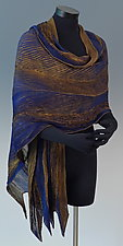Arashi Shawl in Blue and Gold by Anne Vincent  (Silk Scarf)