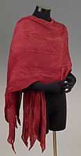 Arashi Shawl in Ruby by Anne Vincent  (Silk Scarf)