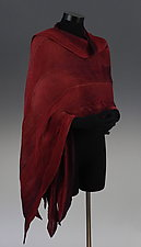 Arashi Shawl in Red and Multi-color by Anne Vincent  (Silk Scarf)