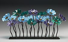 Topaz Glass Flower Garden by Scott Johnson and Shawn Johnson (Art Glass Sculpture)