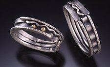 River Landscape Bands by Connie Ulrich (Gold & Silver Wedding Band)