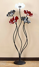 56'' Flowers in Black, White, and Red by Scott Johnson and Shawn Johnson (Art Glass Sculpture)