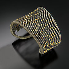 Oxidized Asymmetrical Cuff with Gold Tubes by Tana Acton (Gold & Silver Bracelet)