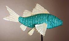 Azul Koi Light Sculpture by Lara Fisher (Mixed-Media Lamp)