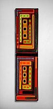 Log Cabin Triptych Wall Panels by Helen Rudy  (Art Glass Wall Sculpture)