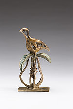 Partridge On A Pear by Sandy Graves (Bronze Sculpture)
