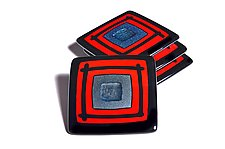 Red Cosmo Coasters by Helen Rudy  (Art Glass Coasters)