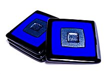 Blue Cosmo Coasters by Helen Rudy  (Art Glass Coasters)