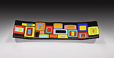 Retro Carnival Platter by Helen Rudy  (Art Glass Platter)