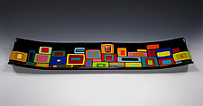 Large Retro Carnival Platter or Tray by Helen Rudy  (Art Glass Platter)