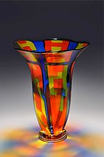 Cobalt Blue and Orange Fluted Vase by Helen Rudy  (Art Glass Vase)