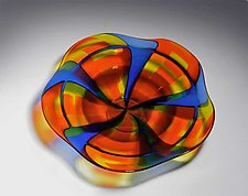 Cobalt Blue and Orange Bowl by Helen Rudy  (Art Glass Bowl)