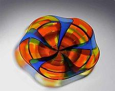 Cobalt Blue and Orange Bowl by Helen Rudy  (Art Glass Bowl)