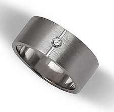 Men's Wide Center Point Flat Band by Claudia Endler (Gold Wedding Band)