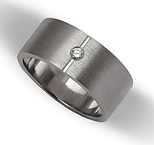 Women's Center Point Flat Band by Claudia Endler (Gold & Stone Wedding Band)