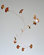 14 Leaf Copper Ginkgo Mobile by Jay Jones (Metal Sculpture)