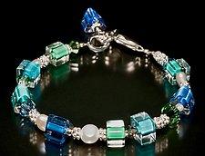 Karma Pearl Ocean Bracelet by Ricky Bernstein (Silver, Glass & Pearl Bracelet)