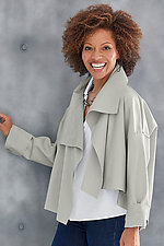 Cropped Asymmetrical Jacket by Planet   (Microfiber Jacket)