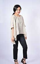 Embroidered Linen Mid-Size Square by Carol Turner  (Linen Top)