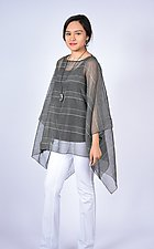 Black Gray Mini Stripe Square by Carol Turner  (Woven Top)