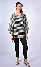 Gray Black Multi-Stripe Square by Carol Turner  (Woven Top)