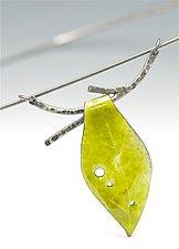 Enamel Leaf and Twig Choker Necklace by Reiko Miyagi (Enameled Necklace)