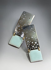 Pastel Blue Starry Night Enamel Earrings by Reiko Miyagi (Enameled Earrings)