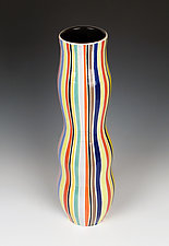 Rainbow Striped Vase by Lin Xu (Ceramic Vase)