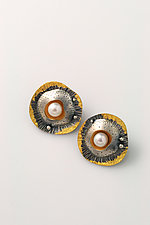 Lotus Seed Pod Earrings by Sooyoung Kim (Gold, Silver & Pearl Earrings)
