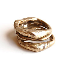 Stone Stacking Ring Set by Ann Chikahisa (Silver and Bronze Rings)