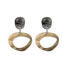 Stepping Stone Quartz Earrings by Ann Chikahisa (Silver, Bronze & Stone Earrings)