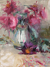 Surprise Peonies by Leslie Dyas (Oil Painting)