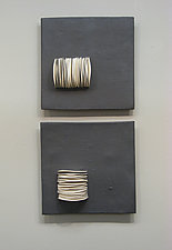 Pair of Dimensional Squares by Lori Katz (Ceramic Wall Sculpture)
