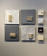 Four and Four in Gray and White by Lori Katz (Ceramic Wall Sculpture)