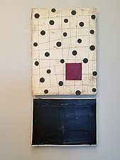 Black Dots, Red Square by Lori Katz (Ceramic Wall Sculpture)
