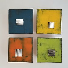 Four in Color by Lori Katz (Ceramic Wall Sculpture)
