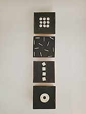 Four Dimensional Squares in Black and White by Lori Katz (Ceramic Wall Sculpture)
