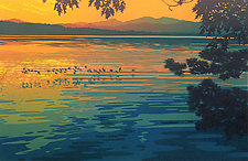 Skimming the Sunset by William Hays (Linocut Print)