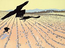 Gleaning Crows by William Hays (Linocut Print)