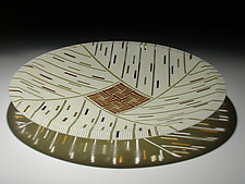 Amber Feather Inlay 15 by Patti & Dave Hegland (Art Glass Platter)