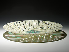 Aqua Feather Inlay 15 by Patti & Dave Hegland (Art Glass Platter)
