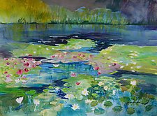 Morning Waterlilies by Sandra Humphries (Acrylic Painting)