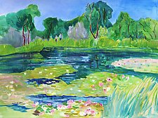 Sunshine on Shady Lakes by Sandra Humphries (Acrylic Painting)